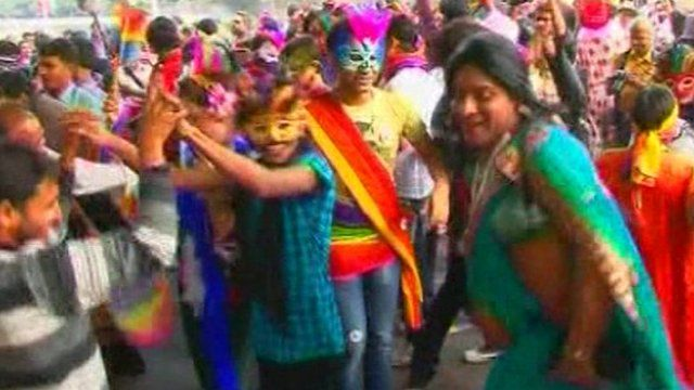 Gay activists dance on the streets of New Delhi