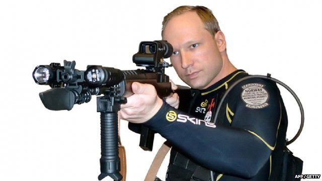Anders Behring Breivik holding assault rifle