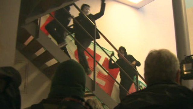 Inside Panton House - image from protester footage