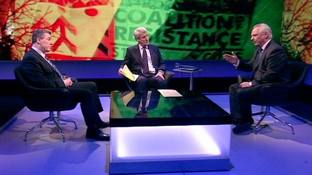 (From left to right:) Mark Serwotka, Jeremy Paxman, and Francis Maude