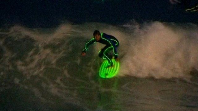 Night surfer in Australia