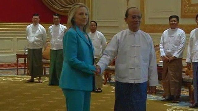 Hillary Clinton meets Burma leader