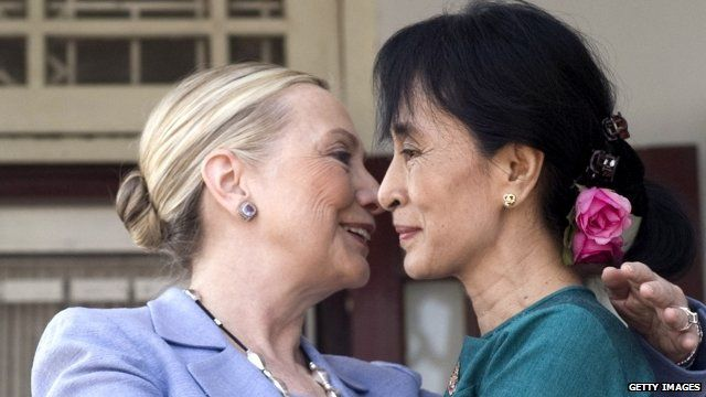 Hillary Clinton and Ann Sang Suu Kyi