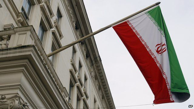 Iranian flag outside its embassy in London