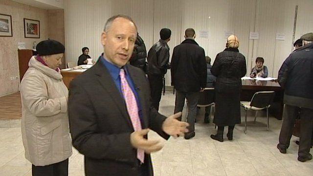 Steve Rosenberg in a Russian polling station