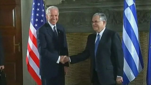 US Vice President Joe Biden and Greek Prime Minister Lucas Papademos