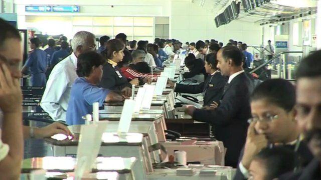 Check-in desks at Mumbai airport