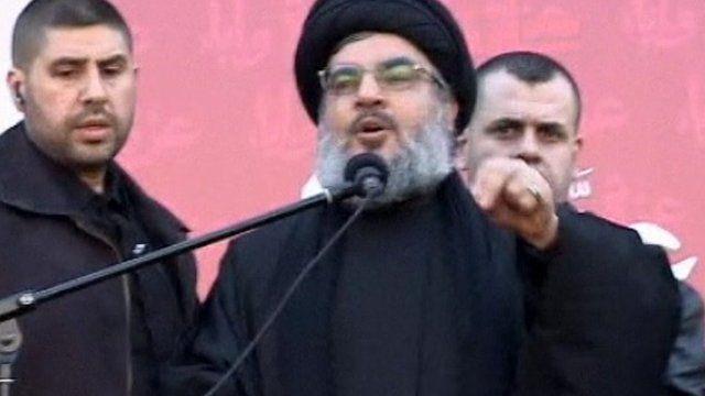 Hezbollah leader Sheikh Hassan Nasrallah addresses the crowd