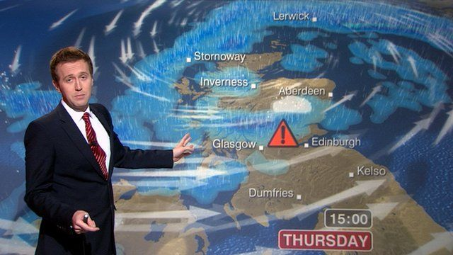 Weather presenter Christopher Blanchett and the weather map