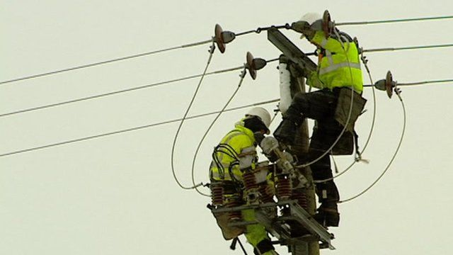 Engineers working on power lines