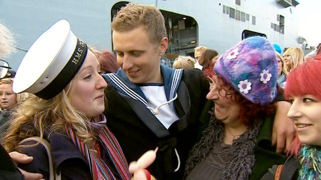 Family and friends are reunited with the crew of HMS Ocean