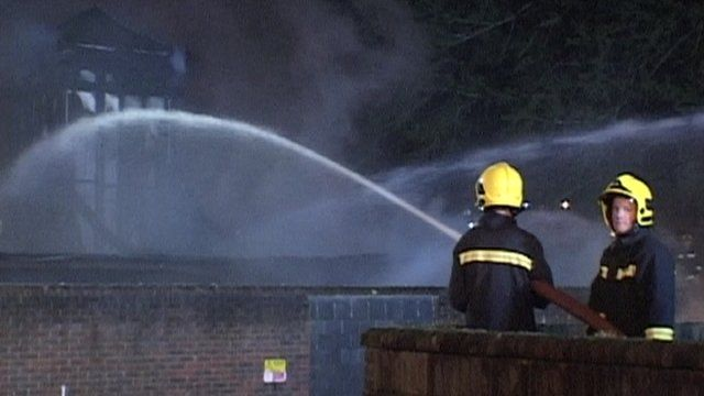Firefighters tackle the hospital fire