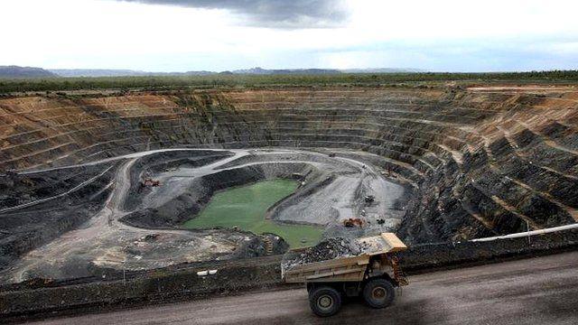 A truck transports uranium ore out of a uranium mine in Australia's Northern Territory