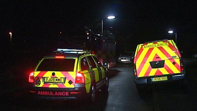 Ambulance parked outside the property