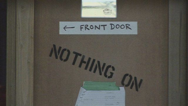 Front door sign on set