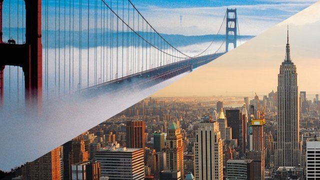 San Francisco's Golden Gate Bridge and New York's Empire State Building