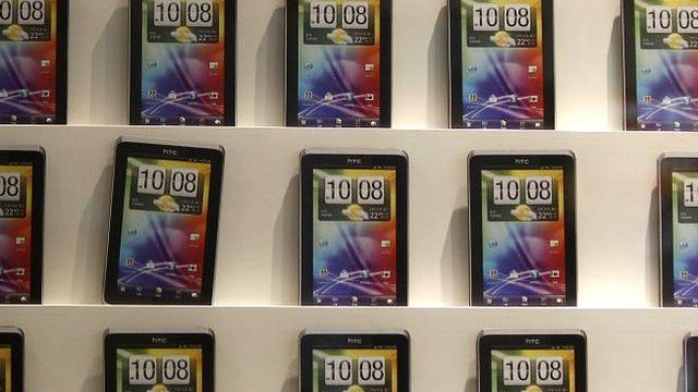 HTC mobile phones at a shopping mall in Taipei