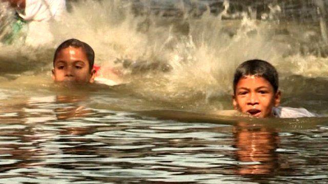 Children swimming in Bangladesh
