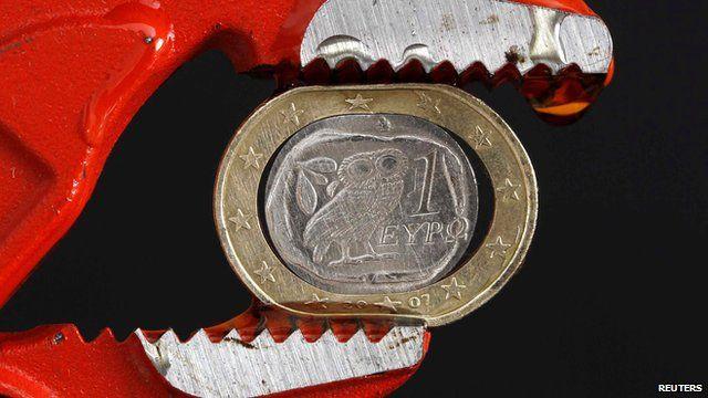 Greek euro between a pair of grips