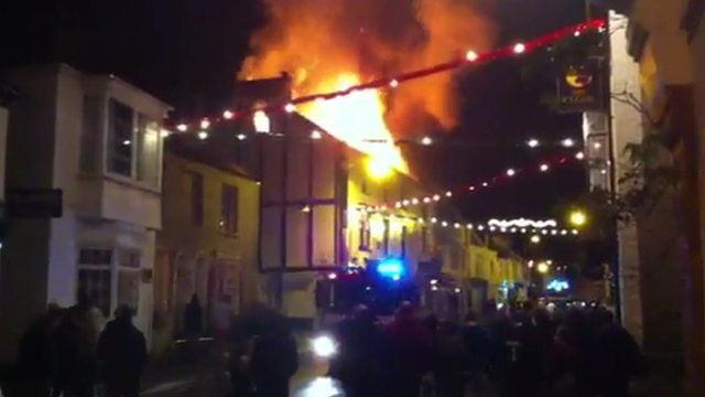 Fire at Old Coaching Inn, Chudleigh. Pic: Simon Grost