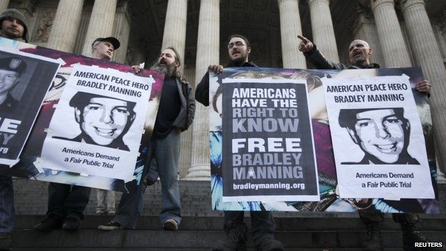 Protest in support of Bradley Manning