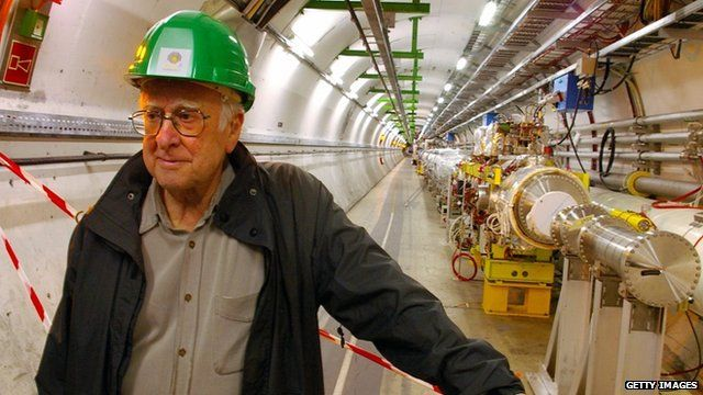 Professor Peter Higgs in the Large Hadron Collider tunnel at CERN, Geneva