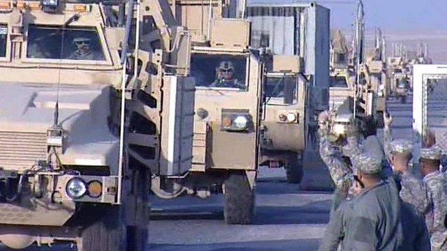 US troops are greeted as they arrive in Kuwait