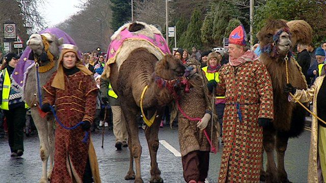 Camels parade through Ellon