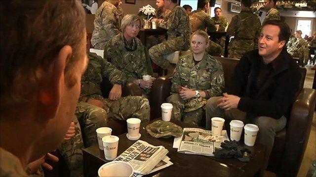 David Cameron talking to UK troops in Afghanistan
