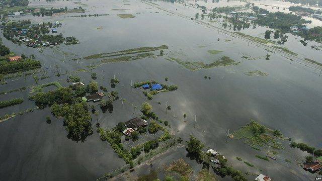 Thai paddy fields submerged in flood waters
