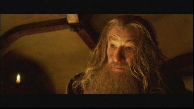 Sir Ian McKellen playing Gandalf