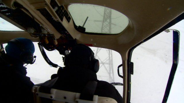 View of a powerline from a helicopter