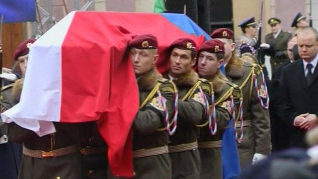 Coffin of former Czech President Vaclav Havel