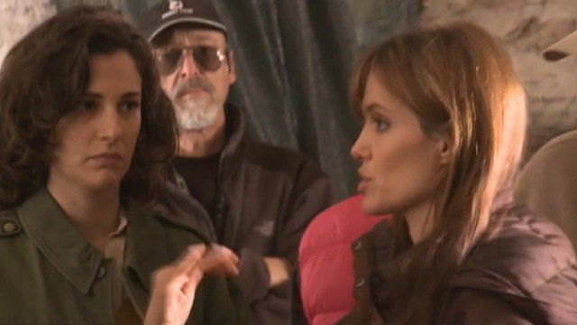 Angelina Jolie on set of In the Land of Blood and Honey