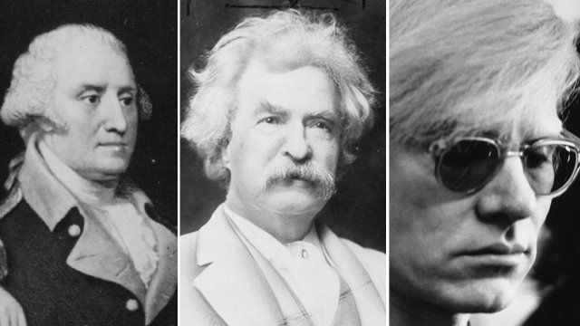 George Washington, Mark Twain, Andy Warhol pictures