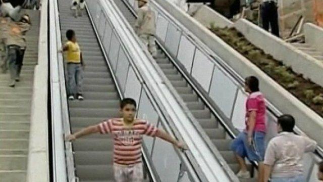 People use outside escalator