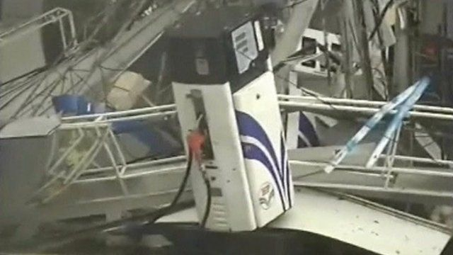 Petrol station badly damaged by high winds
