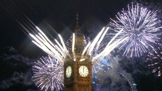 Fireworks emerging from Big Ben