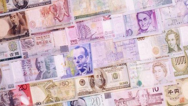 A montage of bank notes