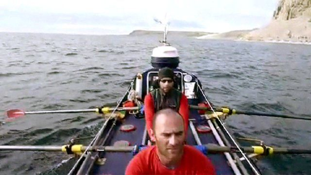 Mark Beaumont and a member of the team in a rowing boat