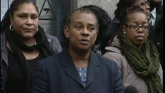 Doreen Lawrence speaking outside court
