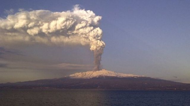 Mount Etna erupting for the first time in 2012