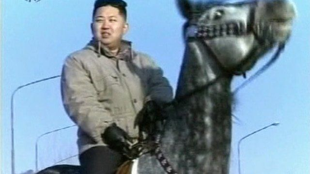 Kim Jong-un on horseback in a documentary aired in North Korea