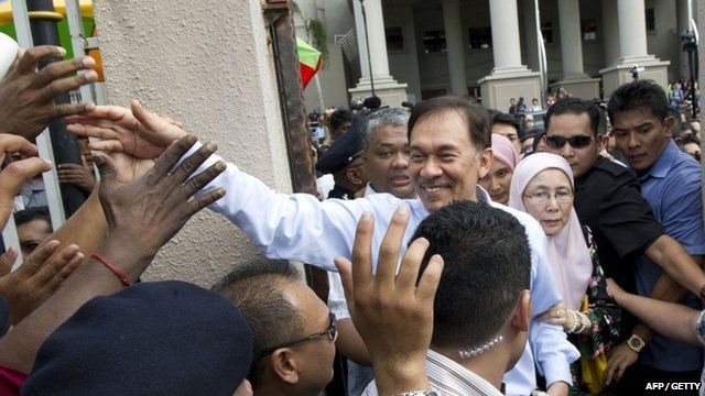 Anwar Ibrahim celebrates with supporters