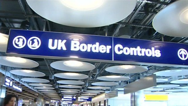 UK Border Controls sign at airport