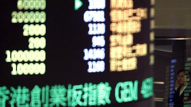 share indicator panel at the Hong Kong stock exchange