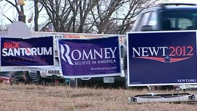 Campaign placards on side of road