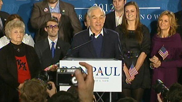 Ron Paul addresses supporters in New Hampshire