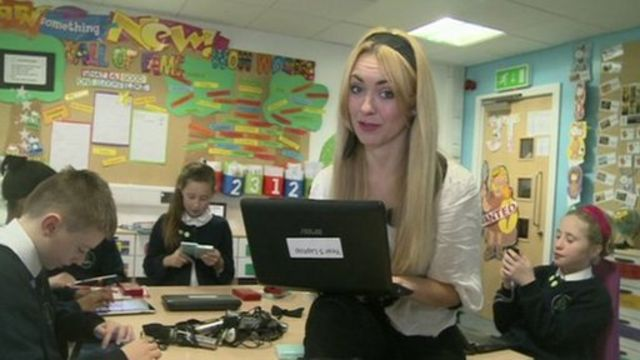 Hayley at a school which uses lots of computer gadgets in lessons