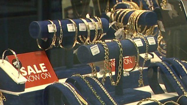 Jewellery in a shop window